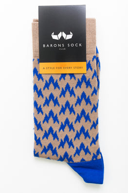 Vintage Light Brown Pattern Socks - Barons Sock Club