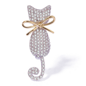 Diamond Cat with a Gold Bow