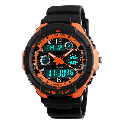 Fire LED Digital Quartz Water Resistant Cycling Watch