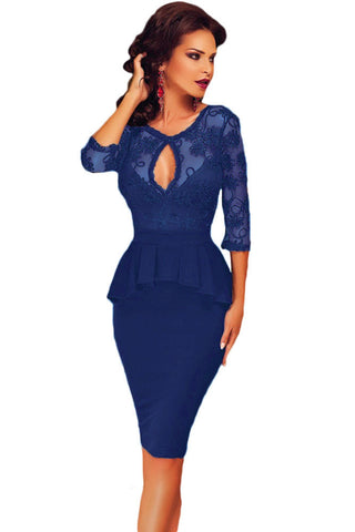 Three Quarters Sleeve Embroidery Blue Peplum Dress