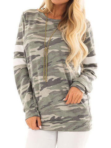 Women's Round Neck Long Sleeve/Loose Fit Camouflage Sweatshirt Hoodie