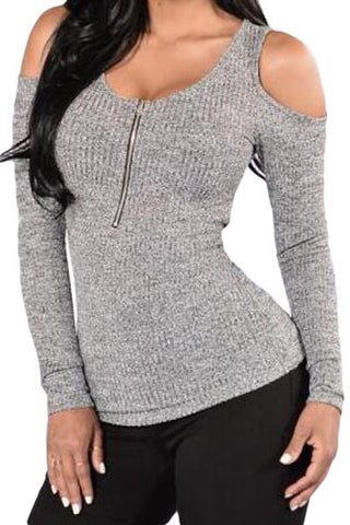 Heather Grey Cold Shoulder Zip Front Top