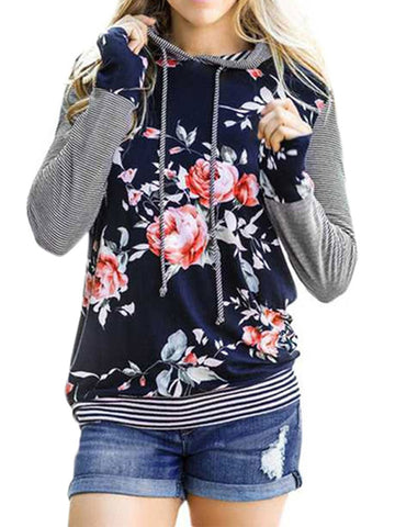 Women's Stripe Splice Floral Print Long Sleeve Casual Hoodie Top