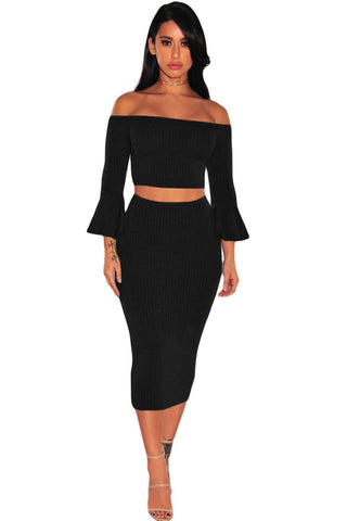 Black Ribbed Knit Bell Sleeves Two Piece Set