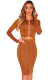 Brown Lace up Cut out Long Sleeves Bodycon Dress