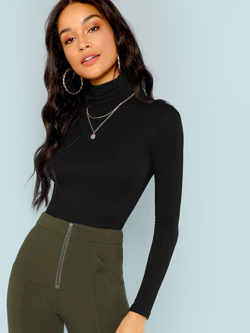 Turtleneck Slim Fit Long Sleeve Top