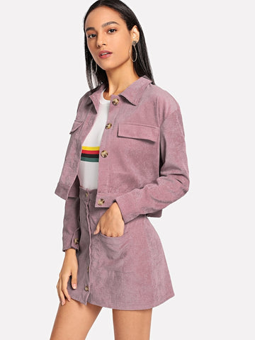 #Corduroy Pocket Jacket With Single Breasted Skirt