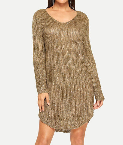 Loose Knit Curved Hem Sequin Sweater Dress