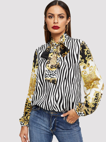 Tie Neck Mixed Print Long Sleeve Top