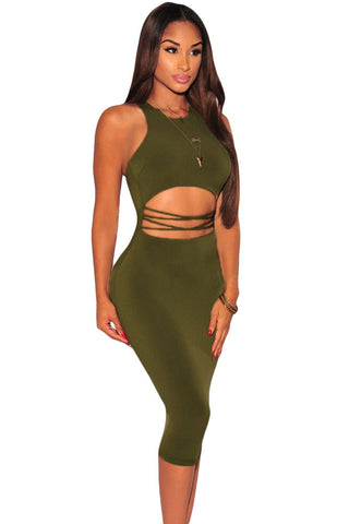 Olive Strappy Cut Out Sleeveless Dress
