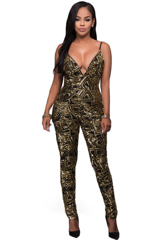 Black Gold Sequins Bare Back Jumpsuit
