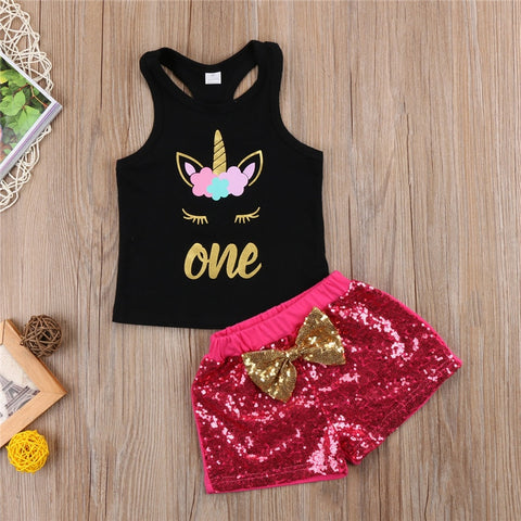 Unicorn Tops+Sequins Short Pants Set