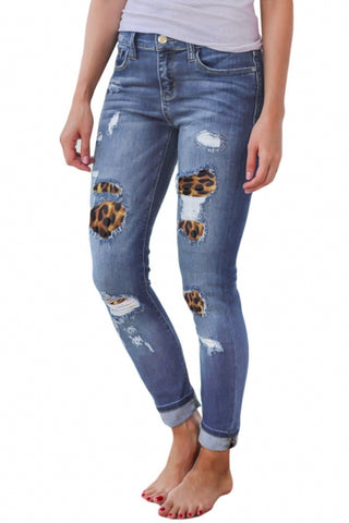 Leopard Patch Detail Distressed Jeans