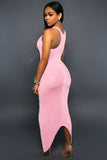 Pink Knotted Slit Dress