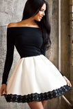 Spliced Bateau Neck Lace Off Shoulder Long Sleeve Skater Dress