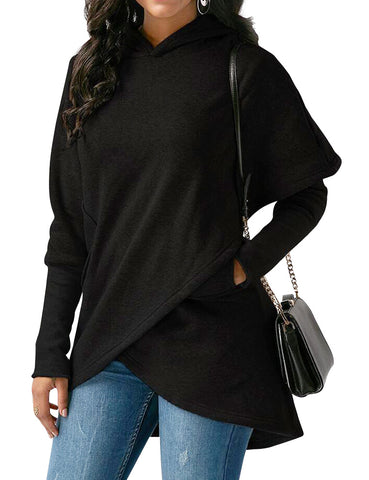 Women Solid Color Long Sleeve Asymmetric Hem Hooded Sweatshirt
