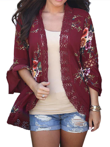 Women's 3/4 Bell Sleeve Boho Floral Kimono Cardigan Cover up Lace Stitching Blouse Top