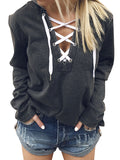 Women V Neck Lace Up Long Sleeve Hoodie Top