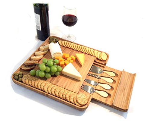 Bamboo Cheese Board with Cutlery Set | Wooden Serving Platter