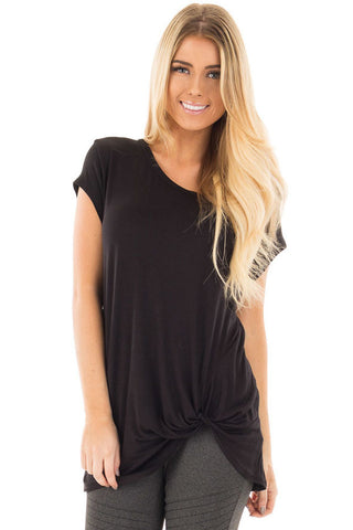 Black Front Knot Short Sleeves Tee