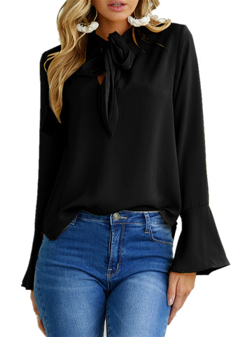Womens Trumpet Sleeve Tie Bow Long Sleeved Solid Blouses