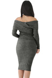 Heathered Black Foldover Shoulder Long Sleeve Skirt Set