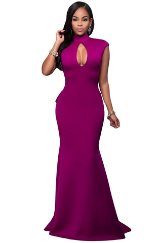 Rosy High Neck Ruffle Back Ponti Gown