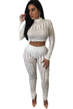 White Sequins Overall Two Pieces Pants Set