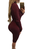 Burgundy High Neck Rib Knitted Midi Dress with Belt