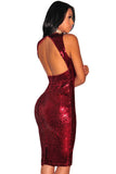 Burgundy Liquid Sequins Cutout Back Club Dress