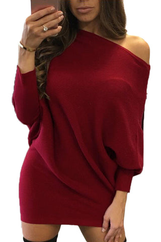 Red Batwing Sleeve Knit Sweater Dress