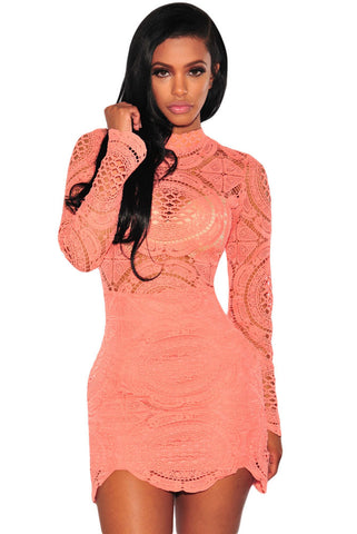 Orange Crochet Lace High Neck Mini Dress