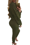 Green Lace Up Long Sleeve Open Knee Pant Set