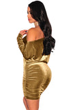 Gold Velvet Off Shoulder Ruched Dress