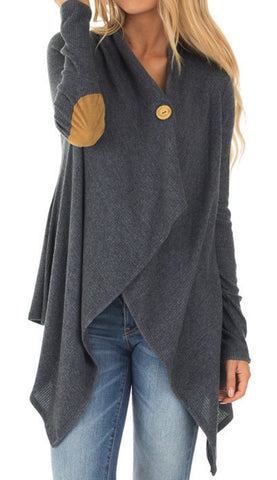 Women Elbow Patch Long Sleeve Asymmetric Hem Cardigan