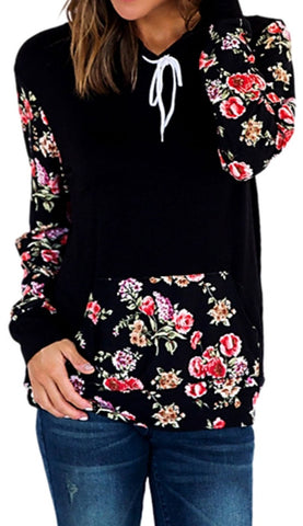 ON SALE-Women's Long Sleeve Flower Printed Hoodie