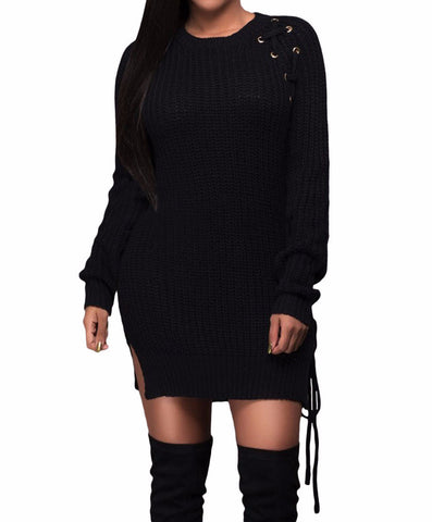 Black Knit Lace up Side Long Sleeves Sweater Dress