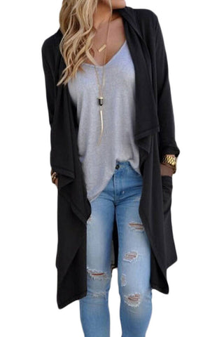 Black Drapery Open Front Back Slit Oversize Coat