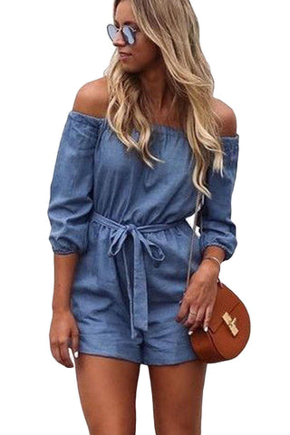 Denim Blue Off Shoulder Mini Romper