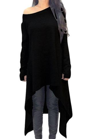 Black Asymmetric Hemline Long Sleeve Oversize Sweater