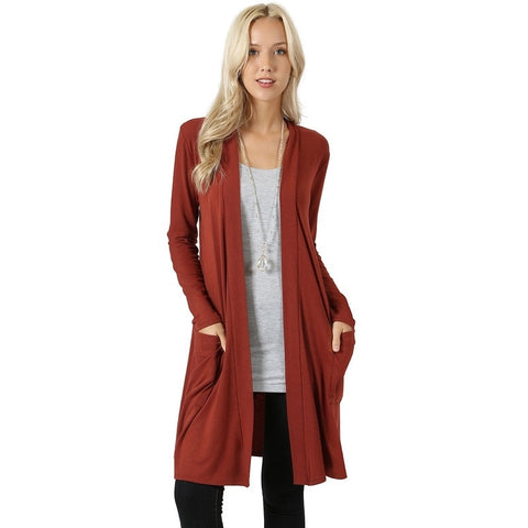 Women's Long Sleeve Cardigan with Side Pockets