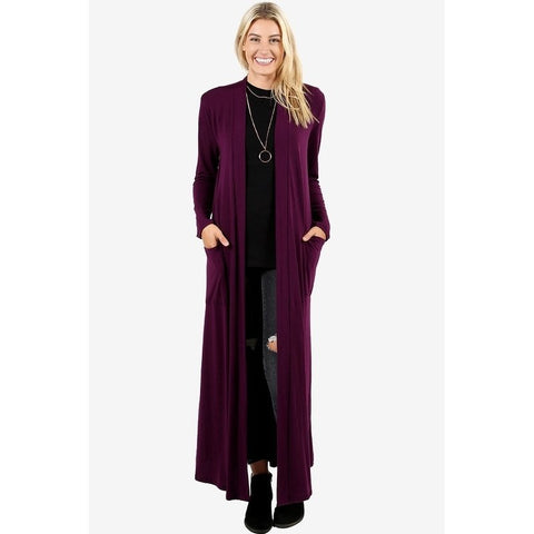 Women's Long Sleeve Maxi Cardigan with Side Pockets
