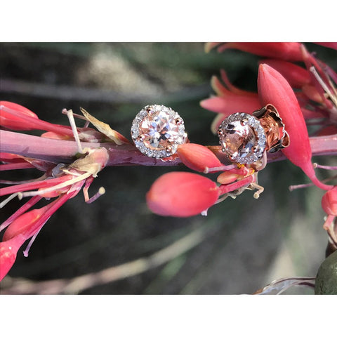 Rose Goldplated Sterling Silver Morganite and Diamond Accent Halo Stud Earrings