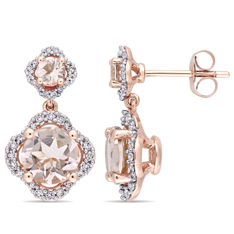 Signature Collection 14k Rose Gold Morganite and 2/5ct TDW Diamond Quatrefoil Halo Dangle Earrings (G-H, I1) - Pink