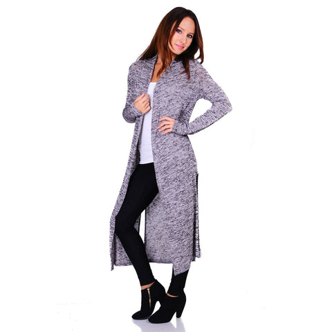 Ravishing Hacci Knit 2-Tone Long Sleeve Long Cardigan (Size: S-3X)