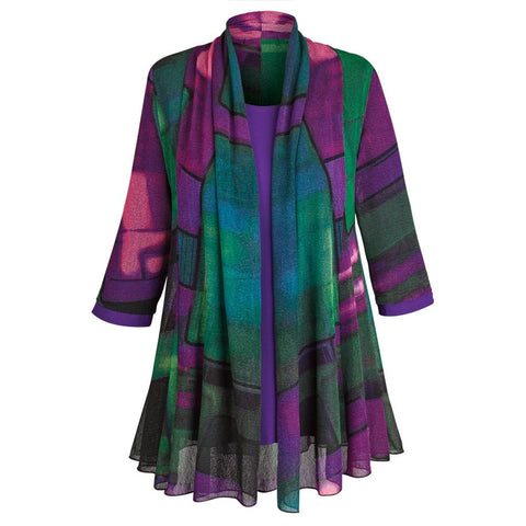 Women's Tunic Jacket - Purple Paradise Open Front Cardigan And Top