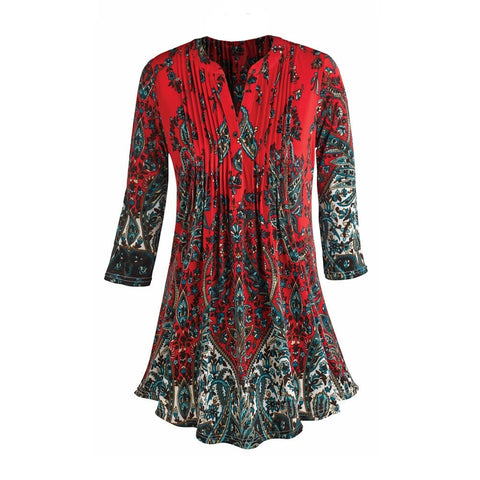 Women's Tunic Top - Pleated Paisley 3/4 Sleeve Printed Blouse
