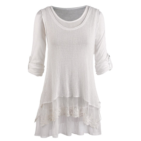 Women's Tunic Top/Roll Tab Sleeve Blouse and Gauzy White Tank Set