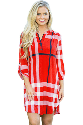 Red Plaid Roll up Sleeves Arched Hemline Dress