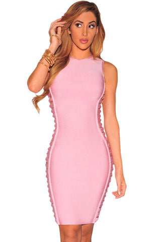 Blush Hourglass Woven Sides Bandage Dress